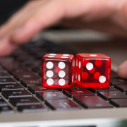 Cacino588 Red Game Dices On Laptop