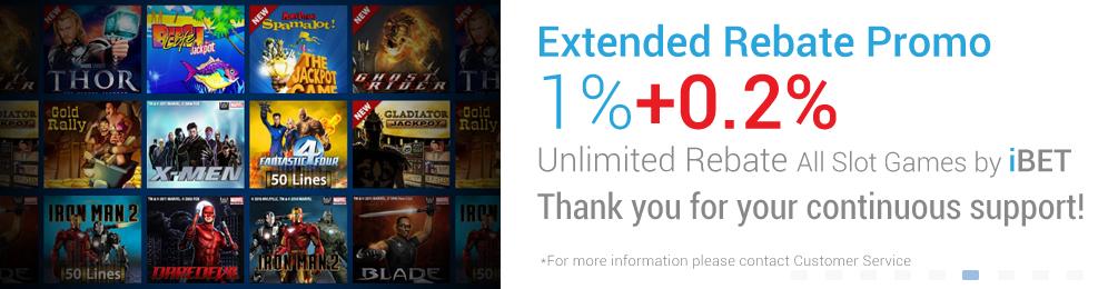 [iBET Malaysia]iBET Slot Games EXTENDED REBATE 1% Unlimited Bonus