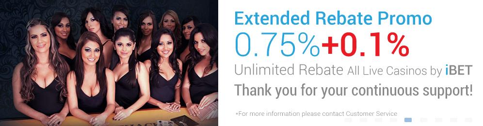 [iBET Malaysia]iBET Live Casinos EXTENDED REBATE 0.75% Unlimited Bonus
