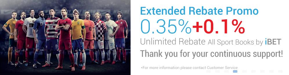 [iBET Malaysia]iBET Sport Books EXTENDED REBATE 0.35% Unlimited Bonus