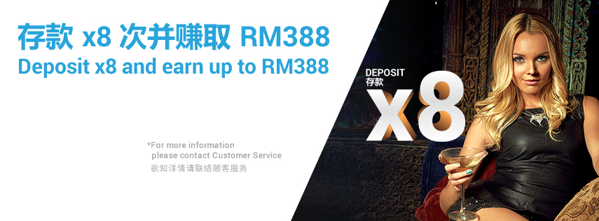 iBET Online Casino Deposit Bonus x8 Up to RM388