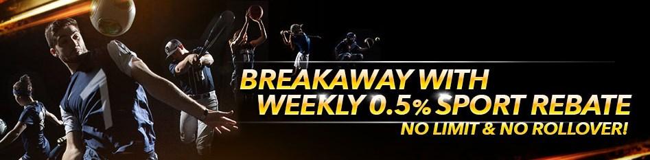 7liveasia Casino Weekly Sport Rebate 0.5% Bonus