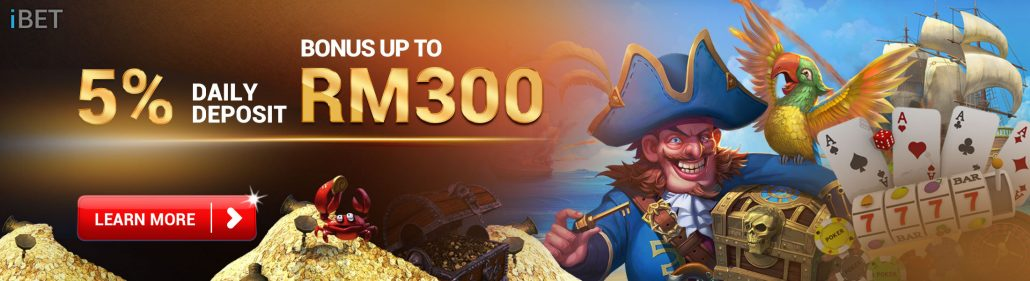 Daily Deposit Bonus Up To MYR300 in iBET Online Casino