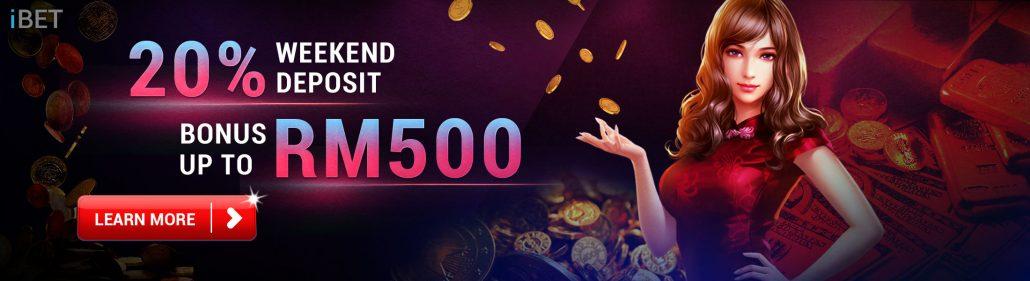 Malaysia Online Casino 20% Weekend Deposit Bonus