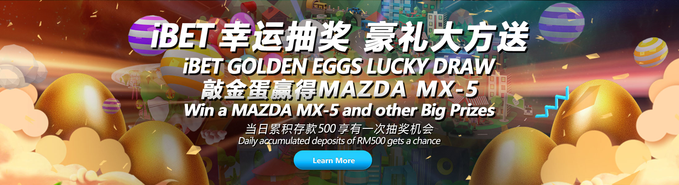 iBET Lucky Draw Crack The Golden Eggs and Win MAZDA MX-5-2200x600